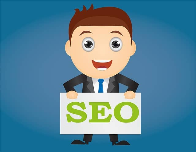 animated guy holding an seo sign