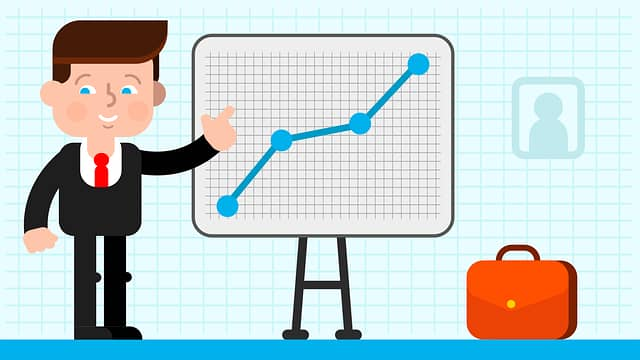 animated character in suit and a chart going up