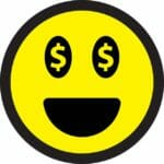 smiley face with money eyes