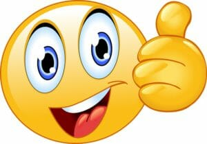 Smiley face emoji with thumb up
