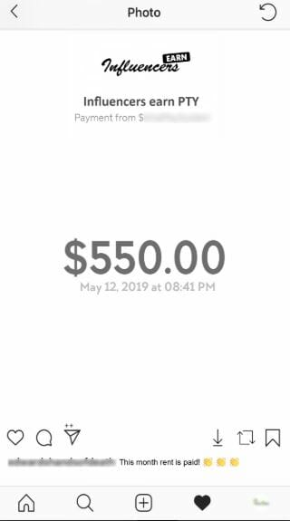 influencersearn fake payment proof