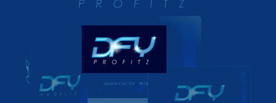 dfy profitz review logo in the middle with blue backround