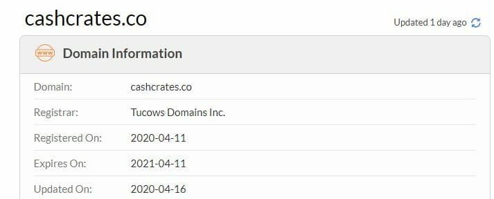 cashcrates date of creation checked with whois