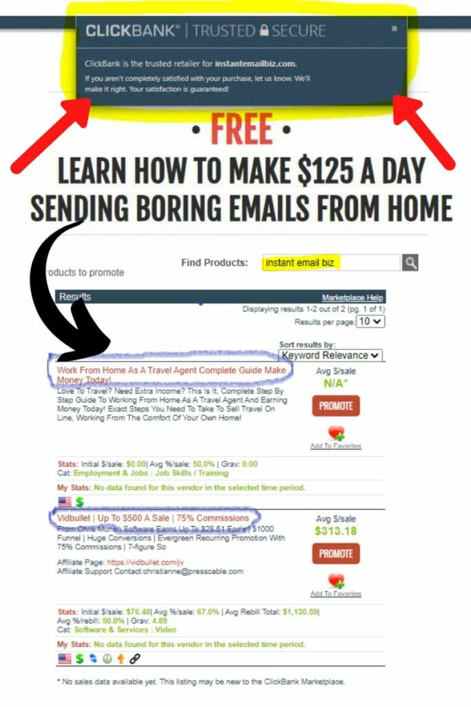 instant email biz is not listed on clickbank